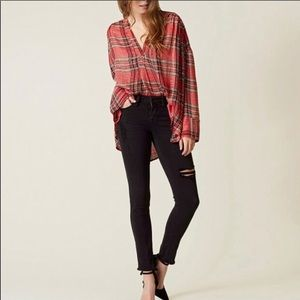 Free People Red Plaid & Gold Sequin Boho Tunic Top